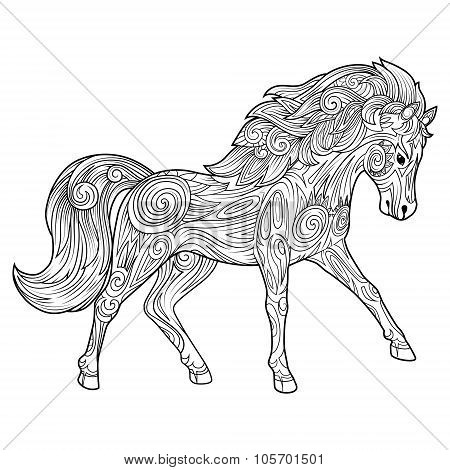 Horse hand drawn ornament vector illustration