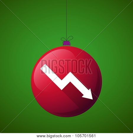 Long Shadow Christmas Ball Icon With A Descending Graph