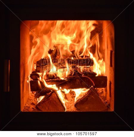 Closeup Of The Inside Of Home Traditional Fireplace