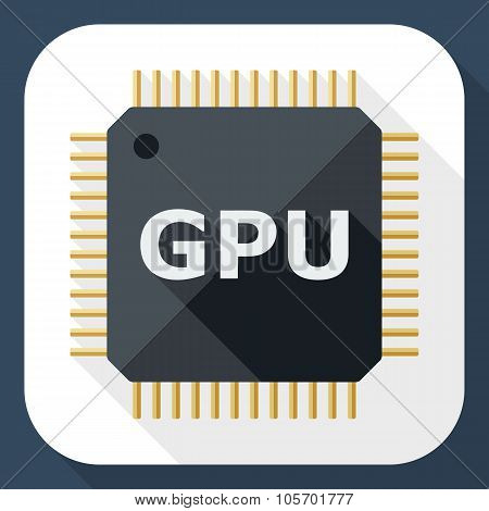 Gpu Icon With Long Shadow