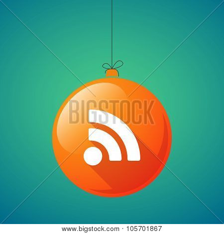 Long Shadow Christmas Ball Icon With An Rss Sign