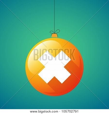 Long Shadow Christmas Ball Icon With An Irritating Substance Sign