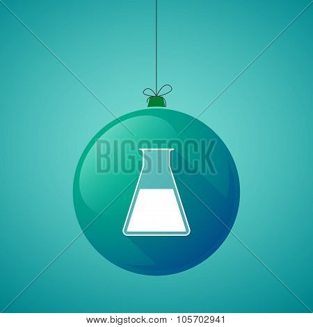 Long Shadow Christmas Ball Icon With A Flask