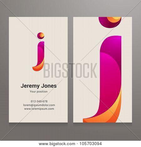 Modern Letter J Business Card Template