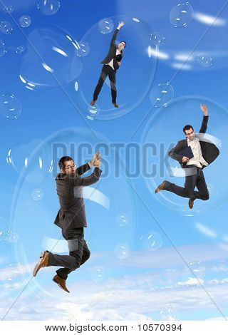 Businessman in flying soap bubbles