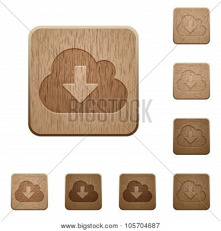 Cloud Download Wooden Buttons