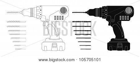 Electric Cordless Hand Drill With Bits. Contour, Silhouette