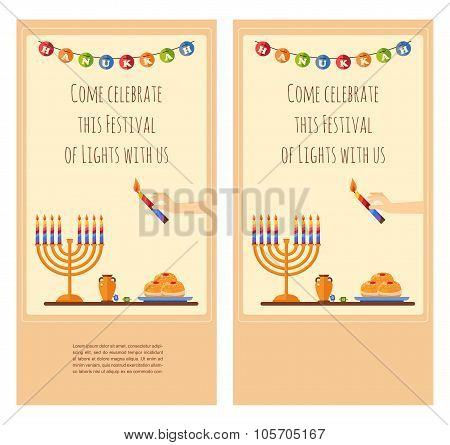 Happy Hanukkah greeting card design, snowing holiday template for party invitation. Hebrew letters o
