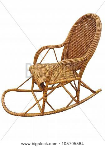 Wicker Brown Rocking Chair Isolated On White