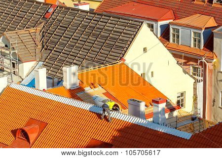 Roofer on the roof.