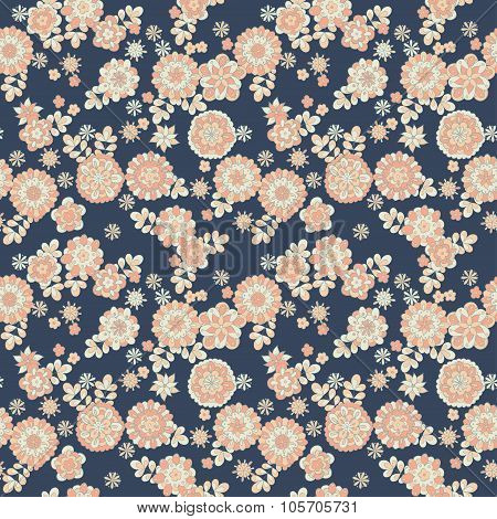 seamless cute retro flowers pattern. floral background