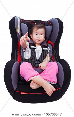 Asian Lovely Girl At Car-seat And Fasten Seat Belt