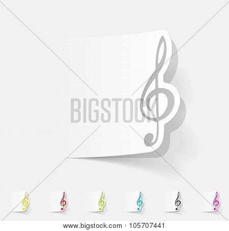 realistic design element. treble clef