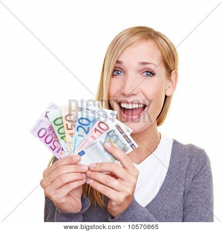 Happy Woman Winning Money