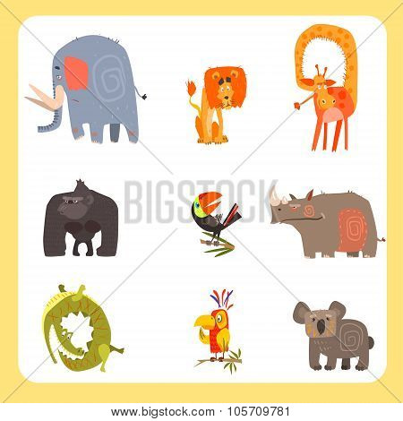 Safari Animals and Birds Vector Illustration Set, Flat Design