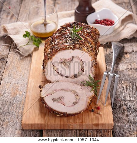 roast pork rolled up with mushroom and onion