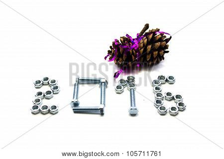 bolt, nut and brown pine cone  new year 2016