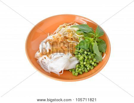 Rice Vermicelli Or Thai Noodle With Curry Fish Sauce In Plate On White Background
