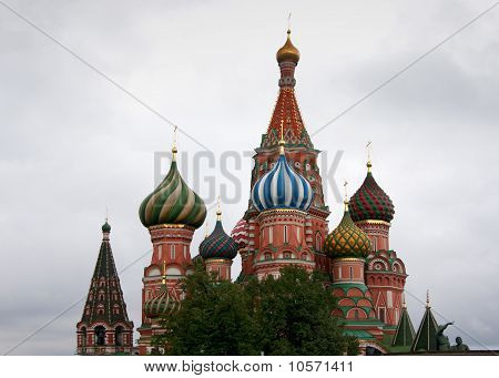 Focus on the towers of Saint Basil's Cathedral in Moscow.