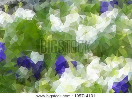 Low Poly Design. Flowers, Flowerbed, Illustration