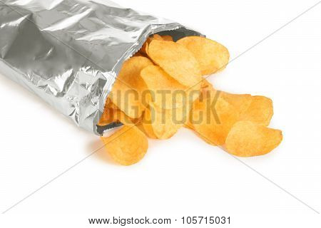 Potato Chips In A Package Isolated On White Background