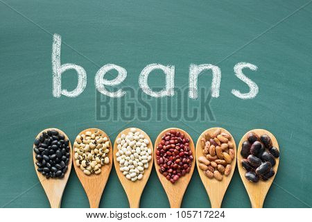 various beans in wooden spoons on green chalkboard