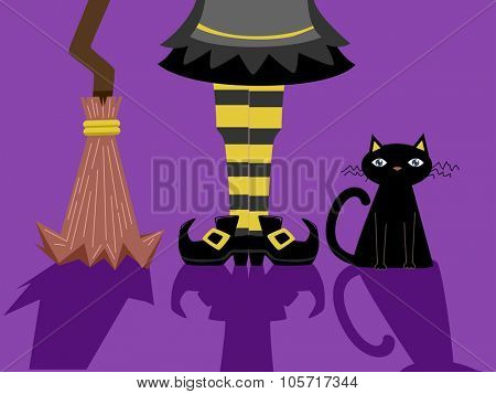 Illustration of a Witch Standing Beside a Black Cat and a Broomstick