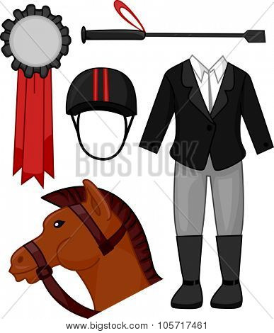 Illustration Featuring Items Commonly Associated with Equestrians