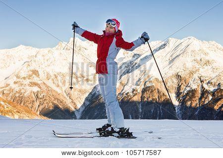 Woman Skiing In Solden; Otztal Alps; Tirol; Austria