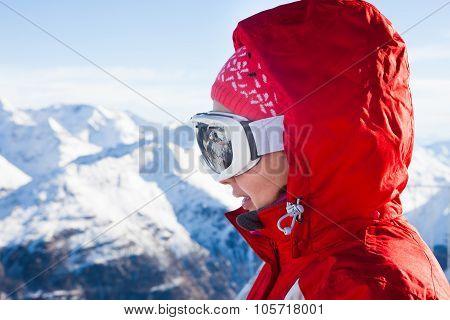 Skier Wearing Ski Glasses