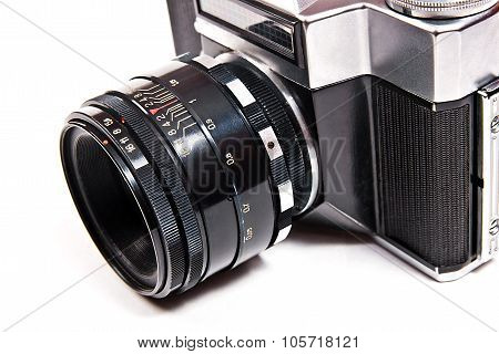 Close Up View Of Old Retro Camera On White Background.