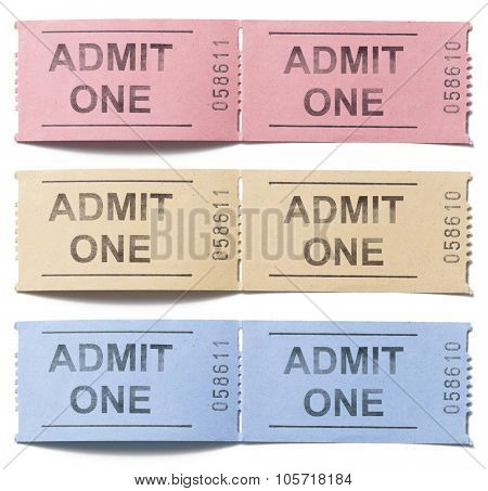 colorful tickets admit one set isolated on white