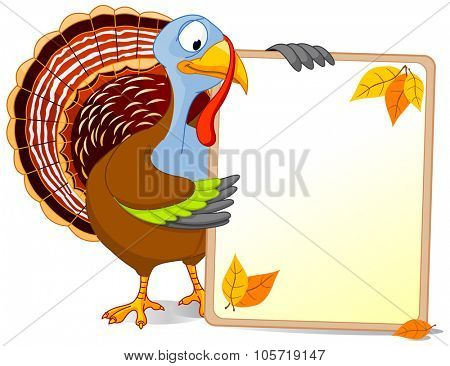 Illustration of a Thanksgiving turkey holds a blank board