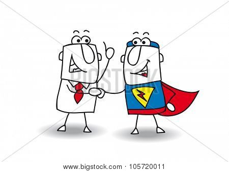 Hello superhero. A businessman and a superhero shaking hands. It's ok ! I swear to you !