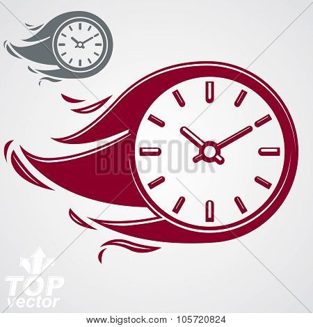 Time Is Running Out Concept, Vector Timer With Burning Flame. Eps 8 Clear Vector Illustration. Deadl