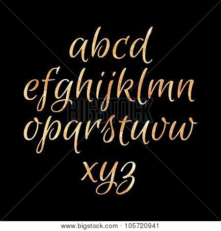 Golden Glittering Textured Alphabet