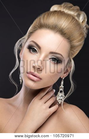 Beautiful Blond Girl In Image Of The Bride. Beauty Face.