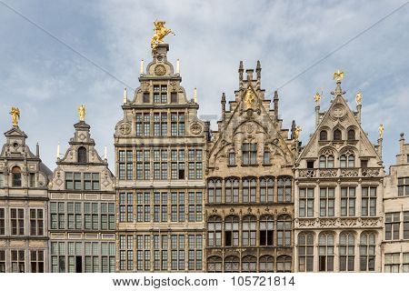 Medieval Houses At Grote Markt Square In Antwerp, Belgium