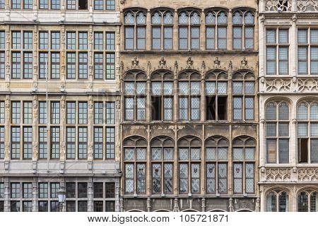 Facade Medieval Houses At Grote Markt Square In Antwerp, Belgium