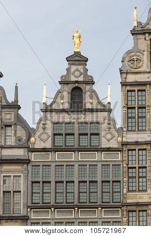 Medieval Houses With Roof Ornaments In Antwerp, Belgium