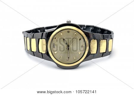 Men's golden wristwatch Isolated on white background