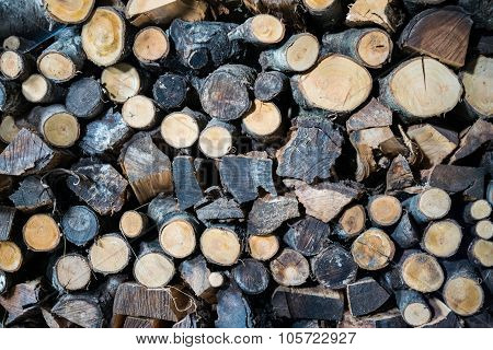 Background Formed By A Woodpile.