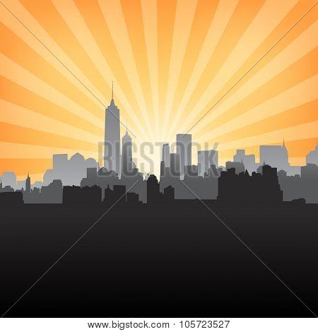 New York Cityscape On Sunburst Pattern