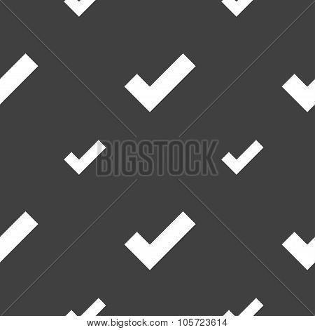 Check Mark Sign Icon . Confirm Approved Symbol. Seamless Pattern On A Gray Background. Vector