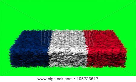 Flag of France, French Flag made from clouds.