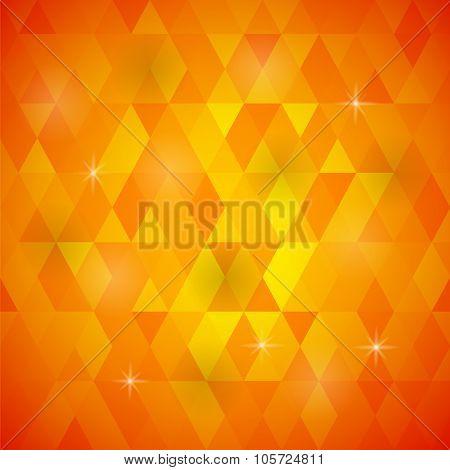 Orange Geometric Retro Mosaic Pattern