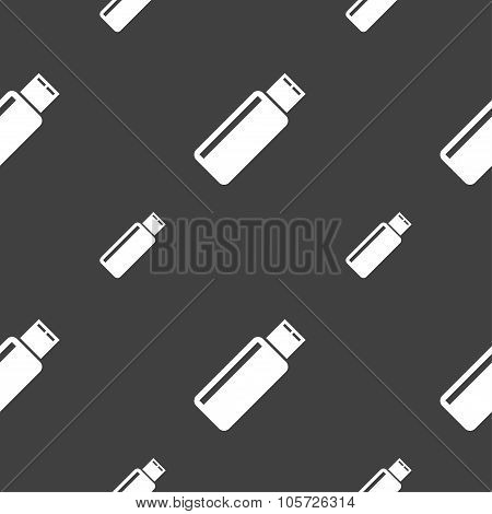 Usb Sign Icon. Flash Drive Stick Symbol. Seamless Pattern On A Gray Background. Vector
