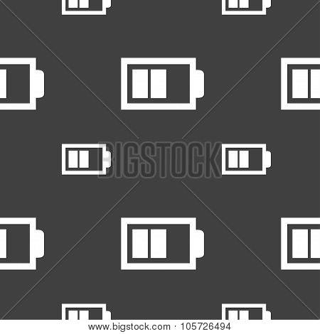 Battery Half Level Sign Icon. Low Electricity Symbol. Seamless Pattern On A Gray Background. Vector