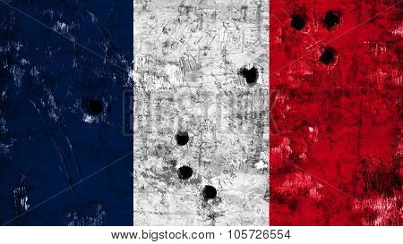 Flag of France, French Flag painted on wall with bullet holes