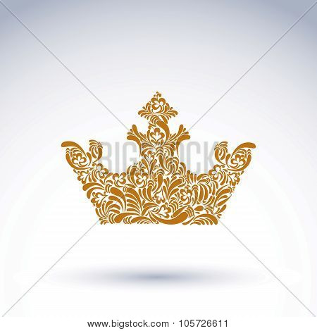 Flower-patterned Decorative Crown, Art Royal Symbol. King Coronet Filled With Abstract Natural Patte